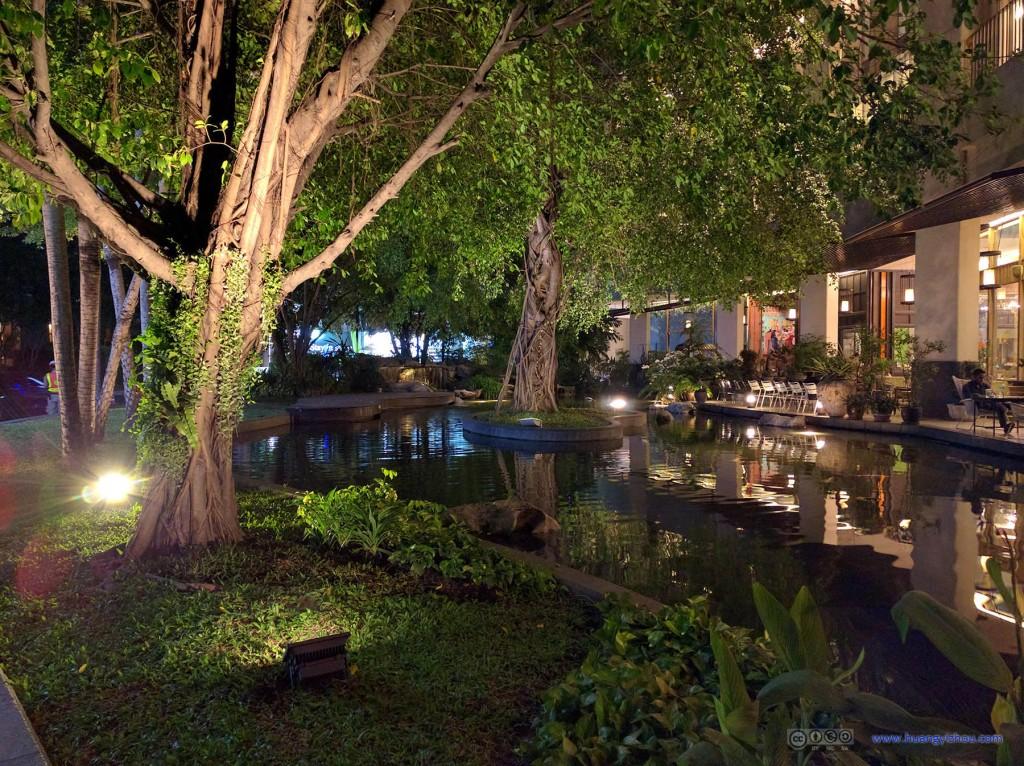 回酒店的路上路过一土豪酒店的池塘