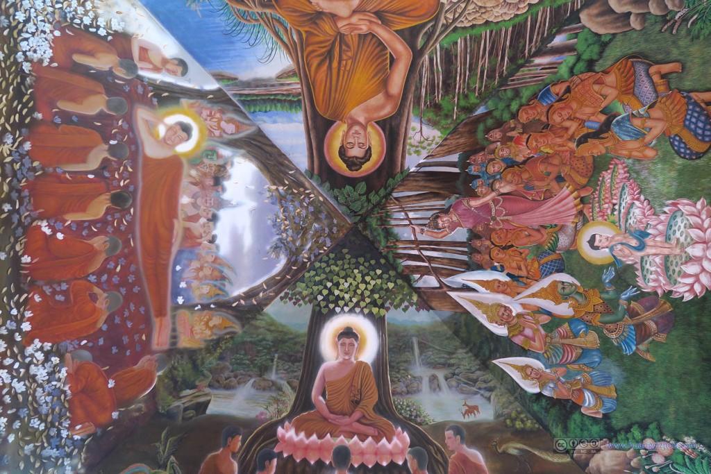 Wat Buppharam,主殿顶端的壁画
